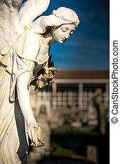 statue, dans, les, cimetière