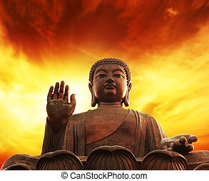 statue, de, bouddha