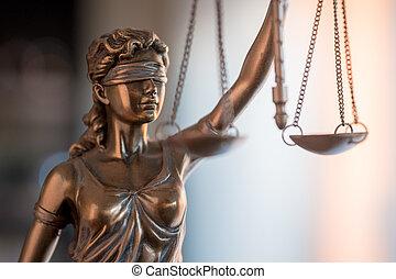 statue, de, justice, à, balances, dans, avocat, bureau.