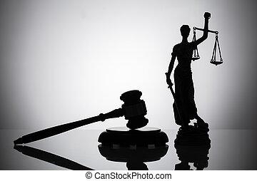 statue, de, justice, et, marteau