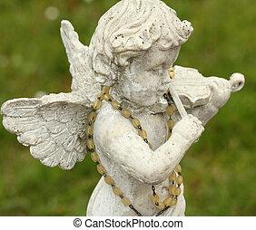 statue, de, petit ange, jouant violon