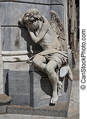 statue, de, une, ange, dans, les, cimetière recoleta