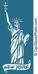 statue, design), liberté, (new, york