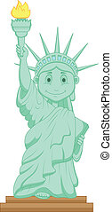 statue, dessin animé, liberté