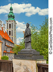 Statue detail at Cesky Krumlov Castle.
