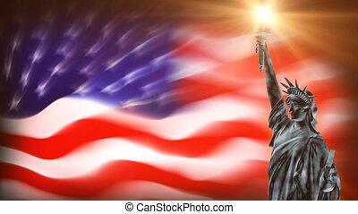 statue, drapeau, liberté, usa