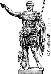 statue, engraving., augustus, vendange