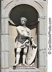the statue of Farinata degli Uberti in Florence, Italy