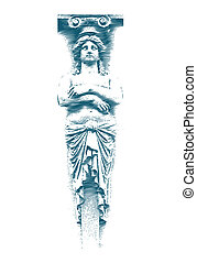 statue, femme