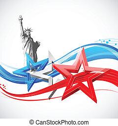 statue freiheit, mit, amerikanische markierung