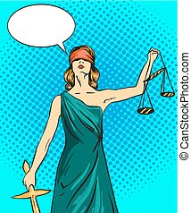 Statue god of justice Themis. Femida with balance and sword. Vector illustration in pop art comic retro style. Law legal concept