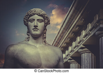 statue, grec, hercule, sculpture