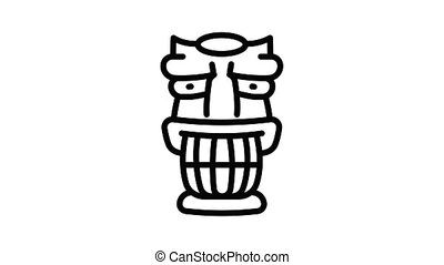 Statue idol icon animation outline best object on white background