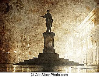 statue, image, style., vieux, richelieu, ukraine, duc, odessa., de, photo