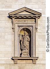 Statue in a niche of St. Stephen's Basilica in Budapest