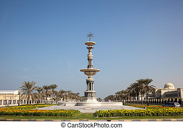Statue in a roundabout in Sharjah, United Arab Emirates