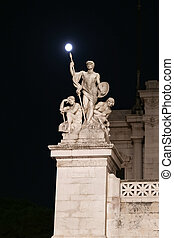 Statue in Altar of the Fatherland in Rome City, Italy