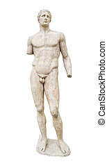 Statue in Delphi museum, Greece - isolated on white ...