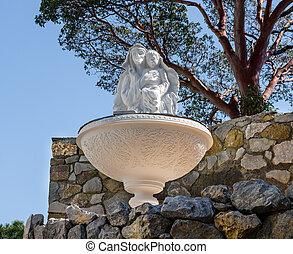 statue in fountain