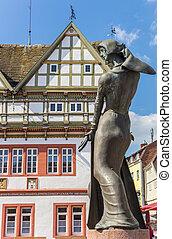 Statue in front of the town hall of Blomberg