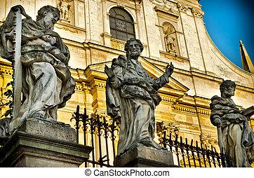 statue in krakow - statue in historical center of krakow
