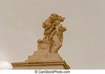 Statues in monument to Victor Emanuel II in Rome, Italy