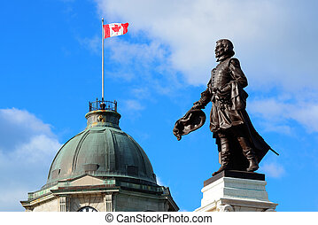 Statue and historical buildings in Quebec City