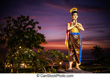 Statue in Tanah Lot temple, Bali Indonesia