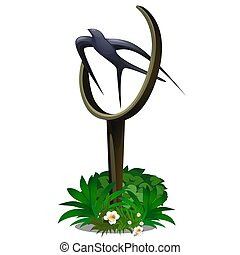 Statue in the form of a flying swallow isolated on white background. Vector cartoon close-up illustration.