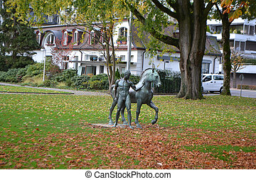 Statue in the park of Lucerne