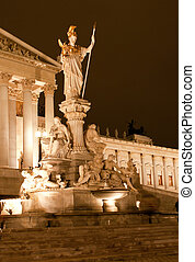 Statue in Vienna at night time