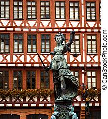 statue, justice, dame, francfort