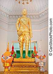 Statue King of Thailand, Rama IV in Thai style building, Thailand.