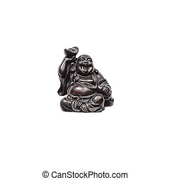 Statue laughing Buddha - Budai or Hotei. isolated cheerful monk. High quality photo