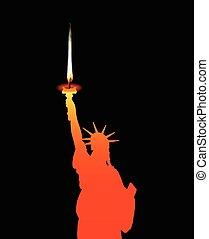 statue liberté, bougie
