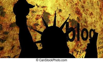 statue, liberté, contre, blog, fond