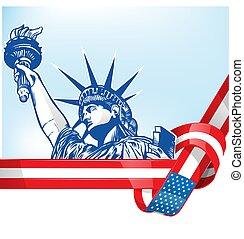 statue, liberté, drapeau etats-unis