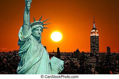 statue liberté, et, new york