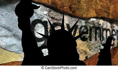 statue, liberté, fond, cassé, contre, gouvernement