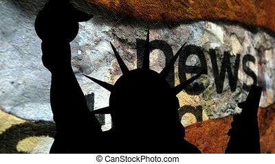 statue, liberté, fond, cassé, contre, nouvelles