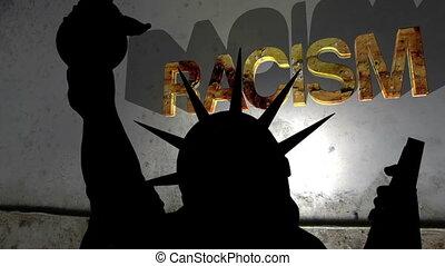 statue, liberté, fond, contre, racisme