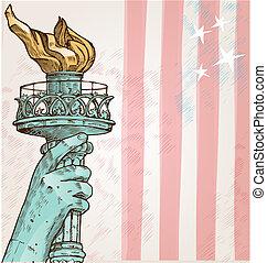 statue, liberté, fond