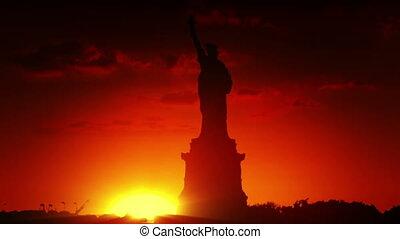 statue, liberté, levers de soleil
