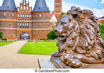 statue., lion, lubeck, allemagne