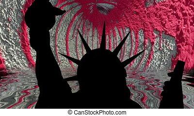 statue, mur, liberté, peinture, rouges, contre