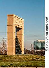statue, nc, monumental, ballantyne, grenzstein, strukturell
