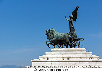 Statue of a chariot at the roof of Altar of the Fatherland in city of Rome