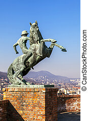 Statue of a horseman in Budapest