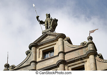 Statue of a soldier on top of a building in Rothenburg