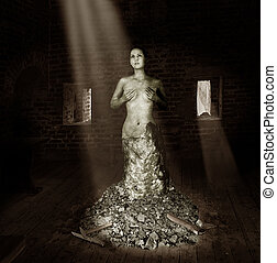 Statue of a woman made of stone stands in the old studio in ...